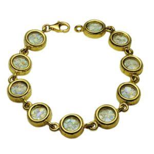 14k Gold Circles Roman Glass Bracelet - Baltinester Jewelry