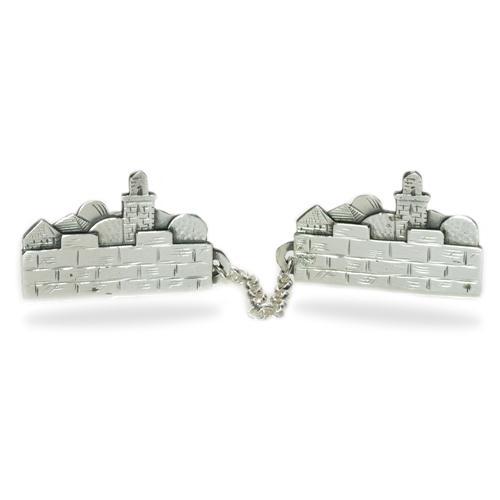 Silver Jerusalem Skyline Tallit Clip - Baltinester Jewelry