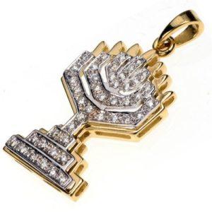 18k Gold Two Tone Diamond Menorah Pendant - Baltinester Jewelry