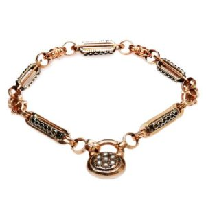 14k Rose Gold and Pearl Lock Bracelet - Baltinester Jewelry