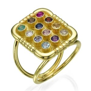 12 Stone 14k Yellow Gold Large Square Top Hoshen Ring - Baltinester Jewelry
