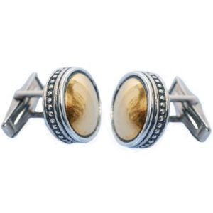 Silver & Gold Ethnic Round Cufflinks - Baltinester Jewelry