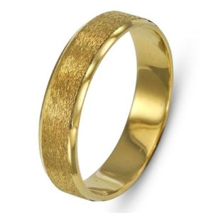 14k Yellow Gold Dual Finish Brushed Wedding Band - Baltinester Jewelry