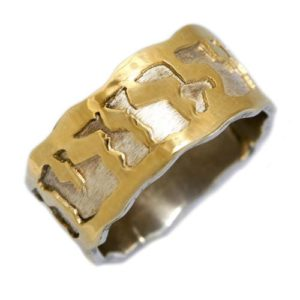 Silver and 14k Gold Ani L'dodi Ring - Baltinester Jewelry