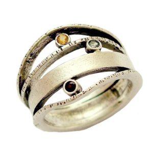 Colored Semi-Precious Stones Ethnic Silver Ring - Baltinester Jewelry
