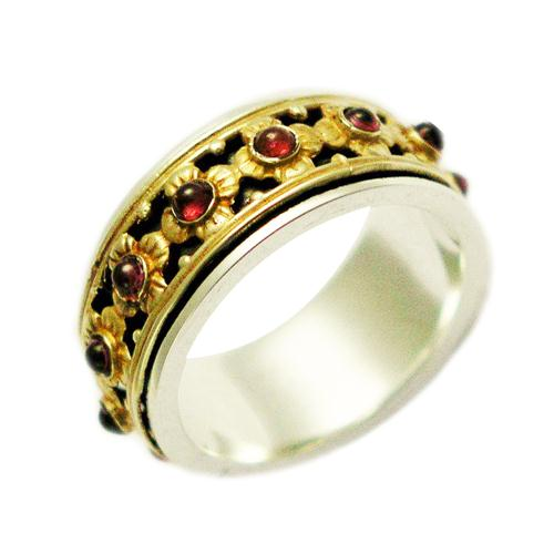 Handmade Silver and Gold Garnet Spinning Ring - Baltinester Jewelry