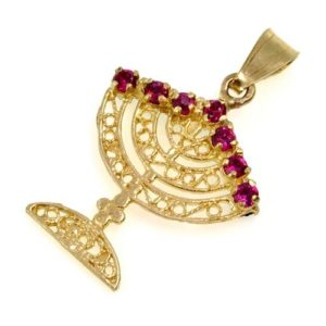 14k Gold and Precious Stones Reversible Menorah Pendant - Baltinester Jewelry