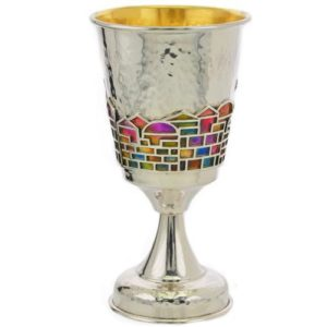 Enamel Rainbow Jerusalem Hammered Silver Stem Kiddush Cup - Baltinester Jewelry