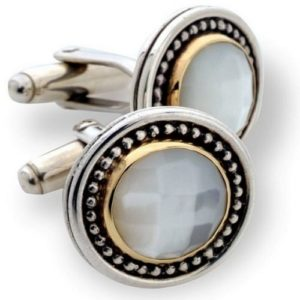 Silver & Gold Mother of Pearl Cufflinks - Baltinester Jewelry