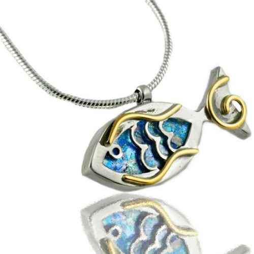 Sterling Silver Roman Glass Fish Pendant - Baltinester Jewelry