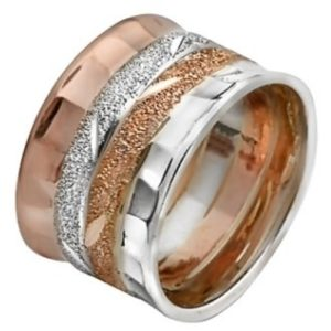 Rose and White Gold Diamond-Cut Wedding Ring - Baltinester Jewelry