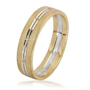 Two Toned Brushed 14K Gold Stripes Wedding Ring - Baltinester Jewelry