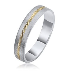 14k Gold Two Tone Florentine Wedding Ring - Baltinester Jewelry