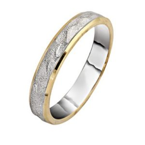 White and Yellow Gold Brushed Hammered Wedding Ring - Baltinester Jewelry