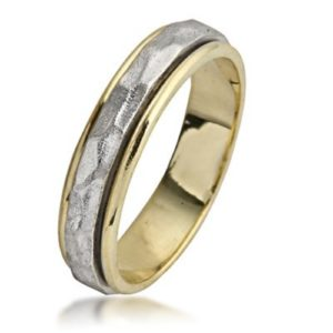 Two Tone Gold Hammered Spinning Wedding Ring - Baltinester Jewelry
