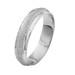 14k White Gold Florentine Wedding Ring - Baltinester Jewelry