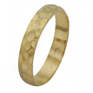 14k Yellow Gold Hammered Ring - Baltinester Jewelry