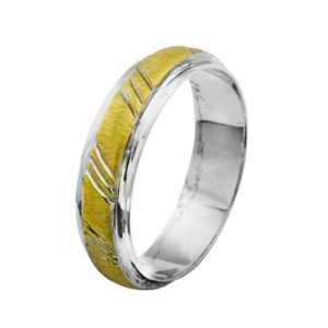 14k Gold Two Tone Striped Wedding Band - Baltinester Jewelry