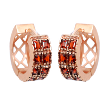 14k Rose Gold and Garnet Hoop Earrings - Baltinester Jewelry