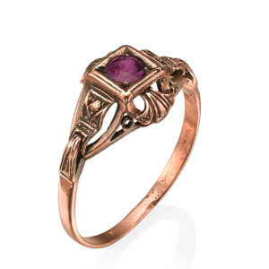 Square Ruby Slender Rose Gold Ring - Baltinester Jewelry