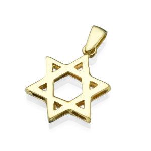 Classic Small 14k Gold Star of David Pendant - Baltinester Jewelry