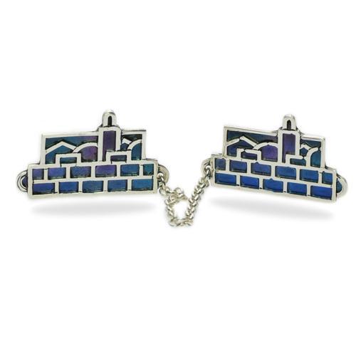 Dark Colored Enamel Jerusalem Skyline Silver Tallis Clips - Baltinester Jewelry