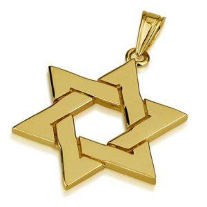 14k Gold Large Interwoven Star of David Pendant - Baltinester Jewelry