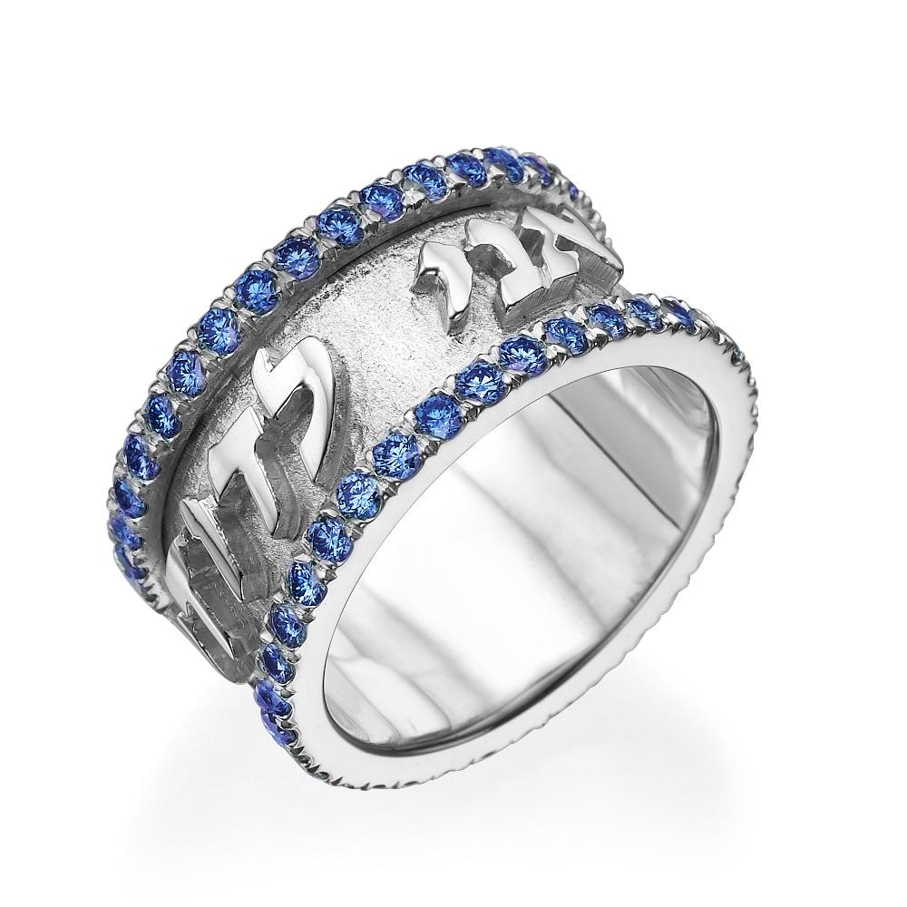 14k White Gold Wide Blue Sapphire Ani Ledodi Ring - Baltinester Jewelry