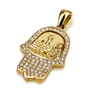 18k Gold 3D Jerusalem Diamond Hamsa Pendant - Baltinester Jewelry