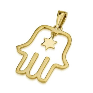 14k Matte Gold Star Outlined Hamsa Pendant - Baltinester Jewelry