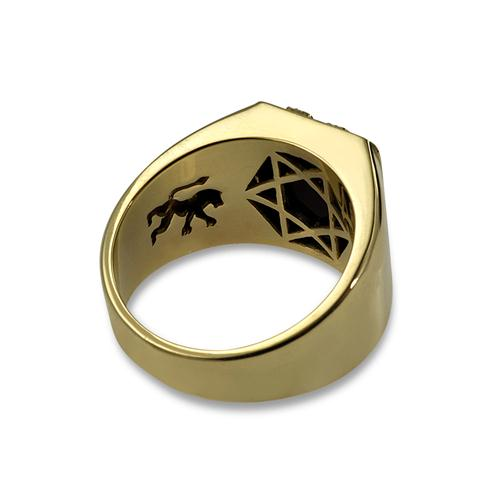 14k Lion of Judah Signet Onyx Ring 3 - Baltinester Jewelry