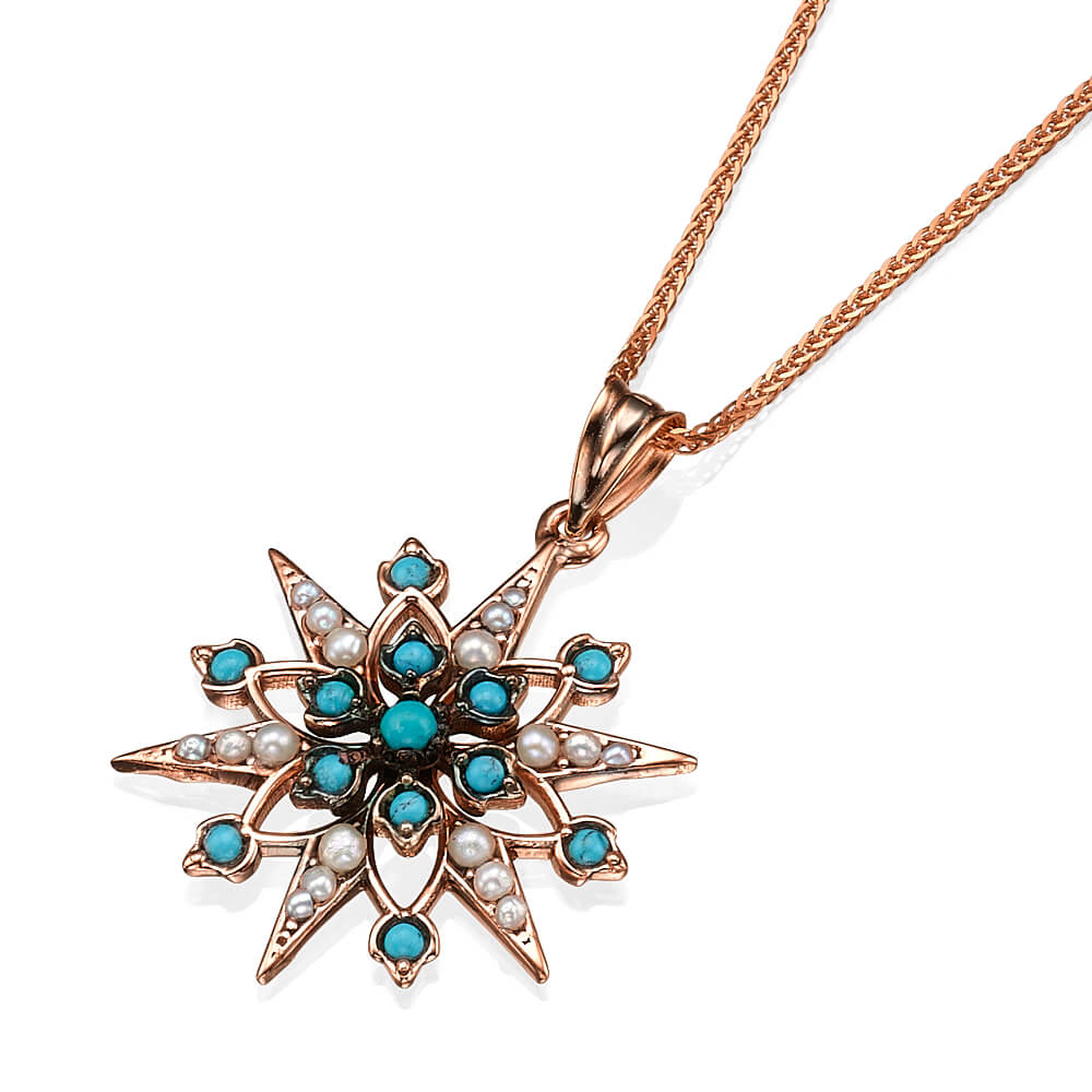 Pearl & Turquoise Rose Gold Snowflake Pendant - Baltinester Jewelry