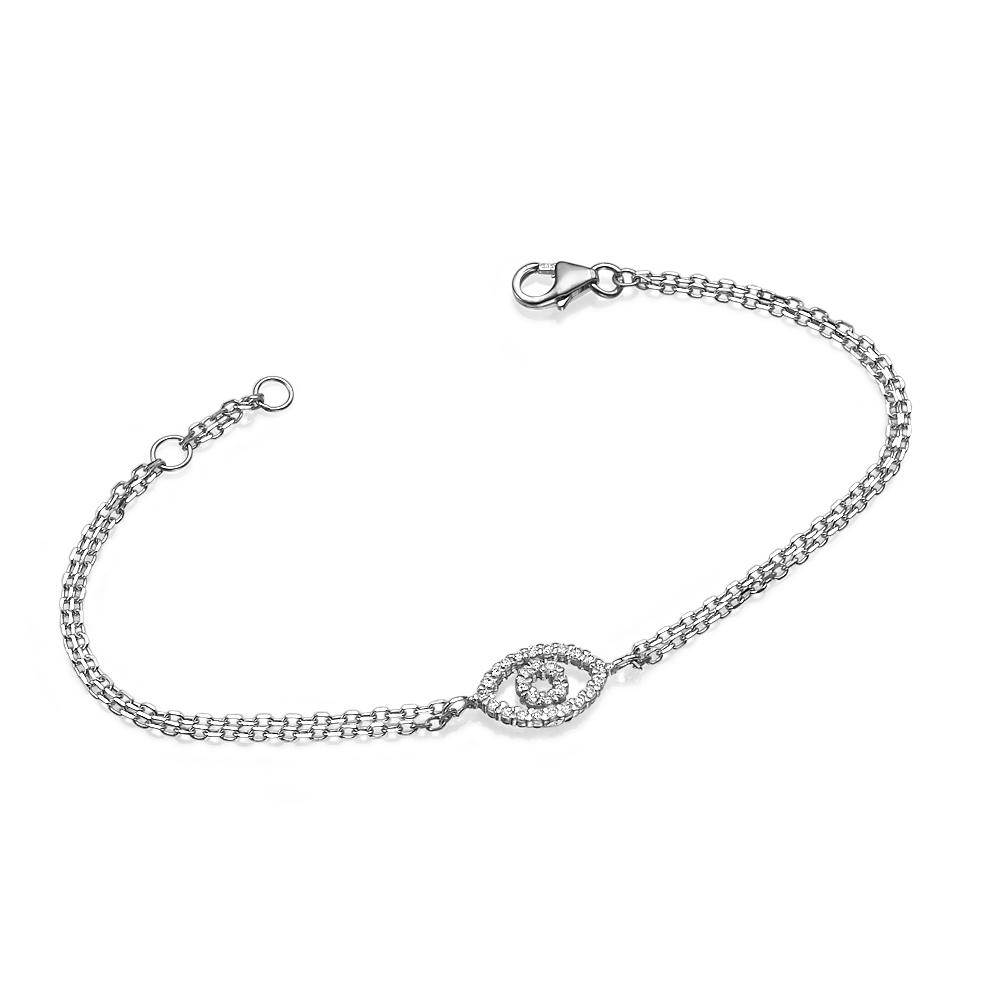 Reversible 14k White Gold Diamond & Sapphire Evil Eye Bracelet 2 - Baltinester Jewelry