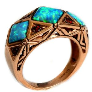 14k Rose Gold Opal and Garnet Triangular Ring - Baltinester Jewelry