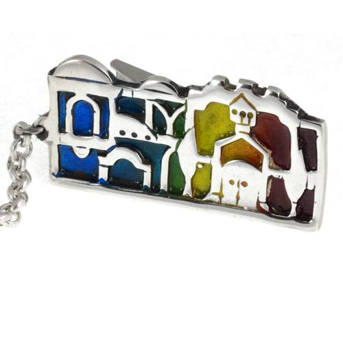 Silver Jerusalem Enamel Tallit Clip 2 - Baltinester Jewelry