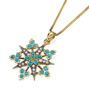 Turquoise & Pearl Star Yellow Gold Pendant - Baltinester Jewelry
