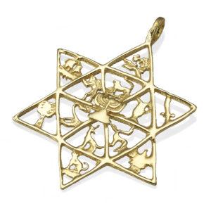 Twelve Tribes of Israel Gold Jewish Star Pendant - Baltinester Jewelry