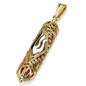 14k Gold Two Tone Filigree Mezuzah Pendant - Baltinester Jewelry
