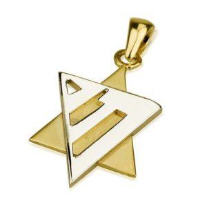 14k Gold Modern Chai Star of David Pendant - Baltinester Jewelry