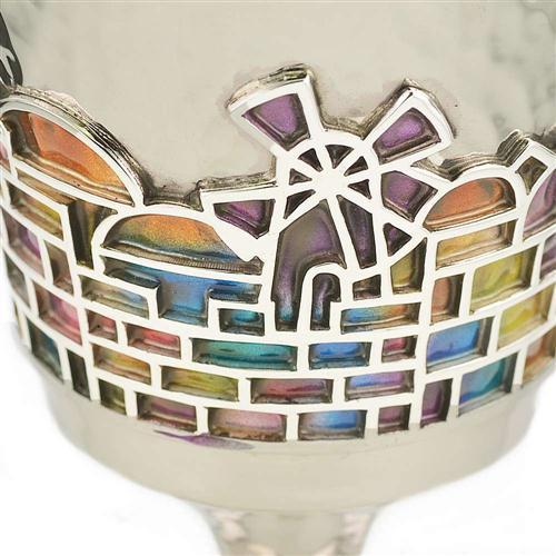 Enamel Rainbow Jerusalem Hammered Silver Stem Kiddush Cup 4 - Baltinester Jewelry