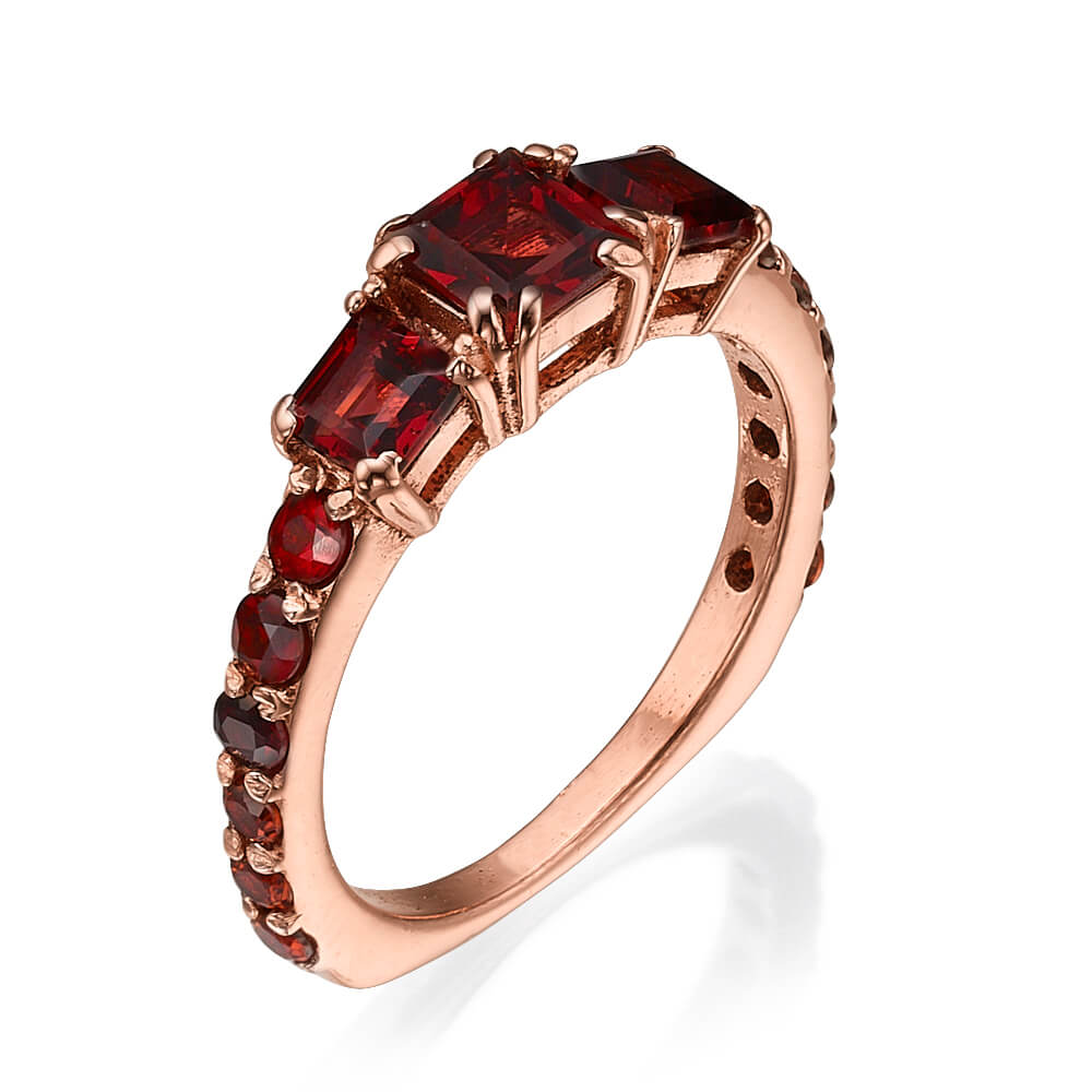 14k Rose Gold Garnet Cluster Ring - Baltinester Jewelry