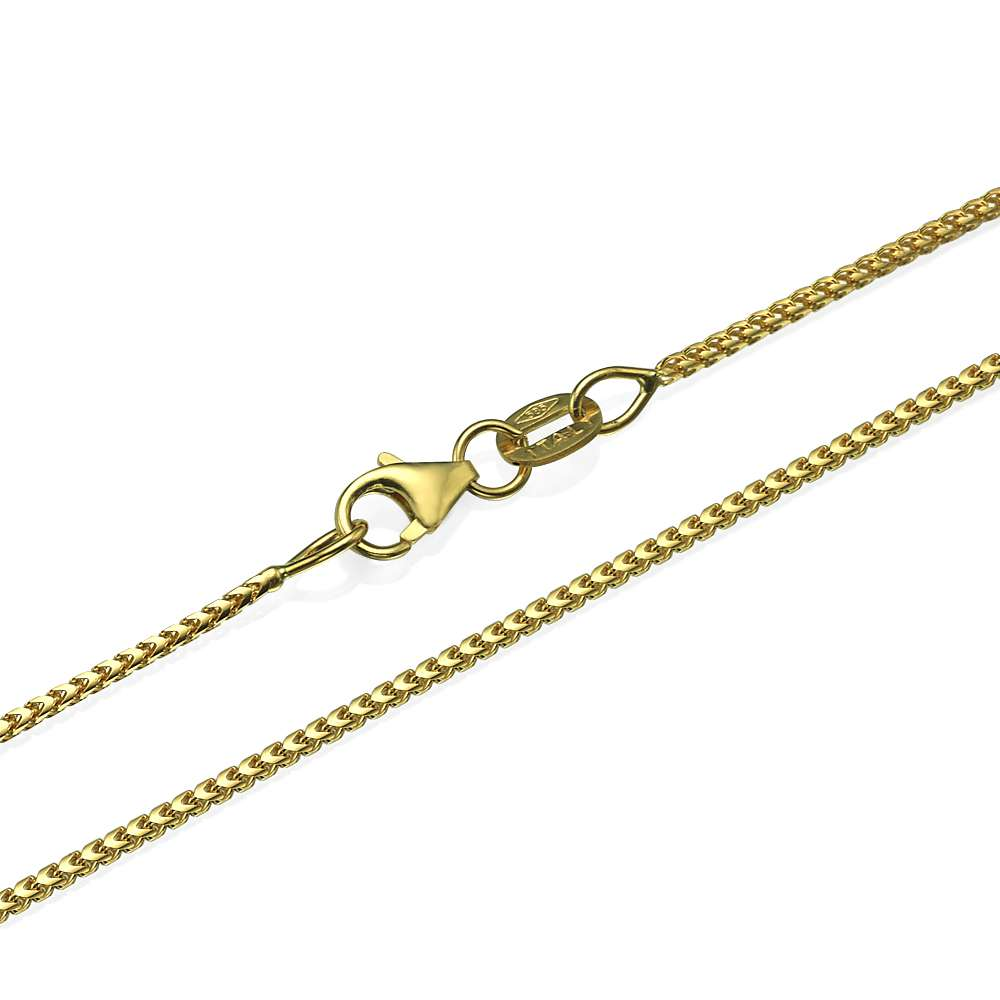 c0bde9274967a 14k Yellow Gold Franco Chain 1.1mm 16-28