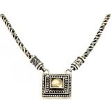 Silver and Gold Yemenite Pendant Necklace - Baltinester Jewelry