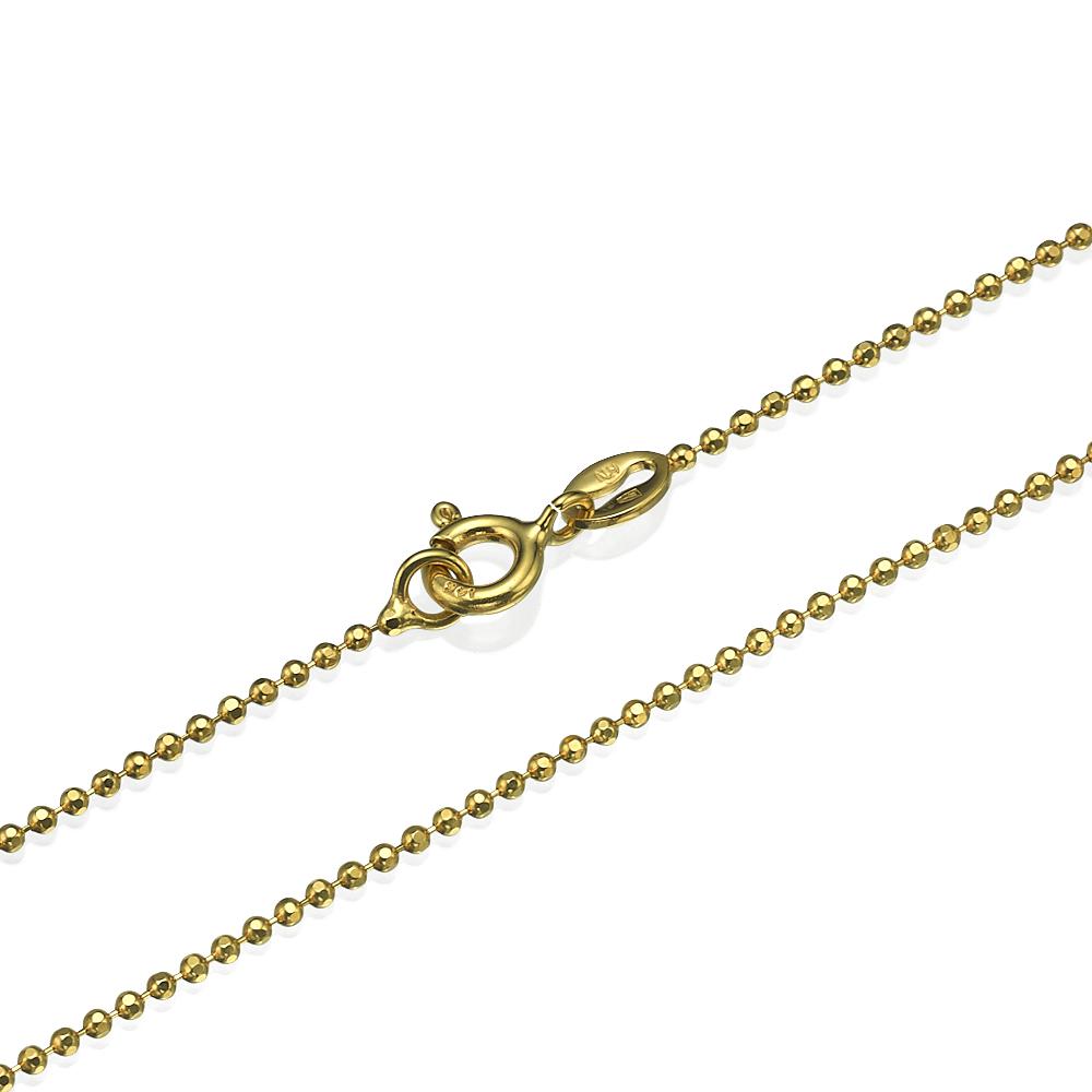 Yellow Gold Diamond-Cut Ball Chain 1.3mm 16-24