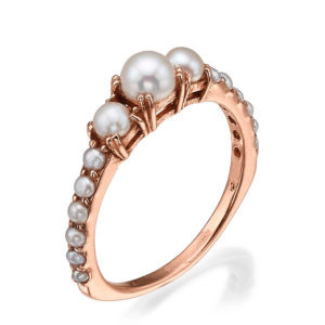 Pearl Cluster Ring 14k Rose Gold - Baltinester Jewelry