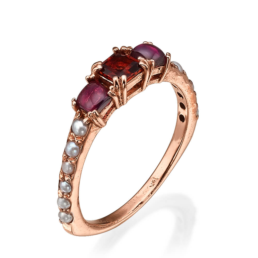 Rose Gold Pearl & Garnet Cluster Ring - Baltinester Jewelry