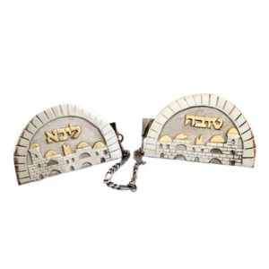 Silver and Gold Jerusalem Name Tallit Clip - Baltinester Jewelry