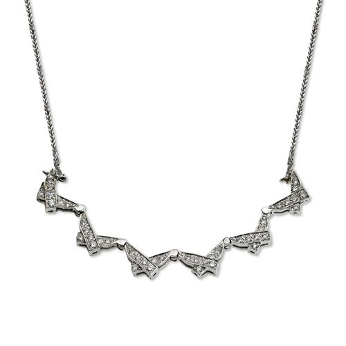 14k White Gold Diamond Butterfly Star of David Necklace 2 - Baltinester Jewelry