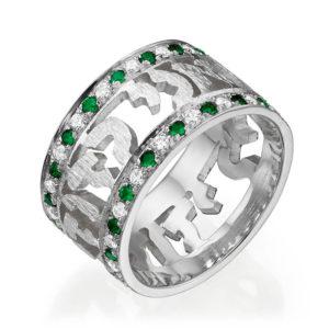 Emerald Diamond Ani Ledodi Wedding Band 14k White Gold - Baltinester Jewelry