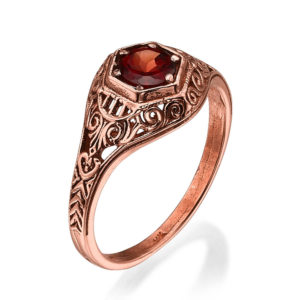 Ornate Rose Gold Garnet Solitaire Ring - Baltinester Jewelry